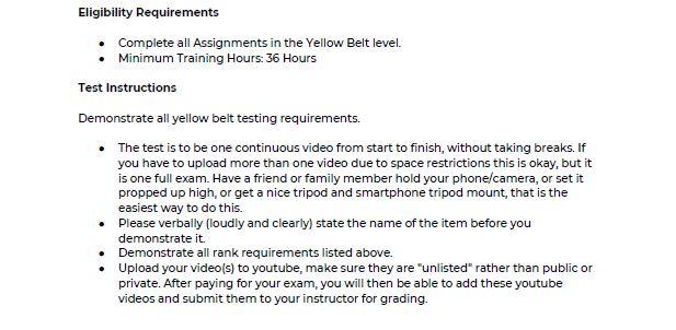 Shotokan Yellow Belt Requirements 3